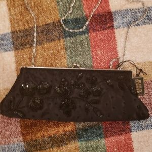 NEW Small Evening bag purse black beaded sequins